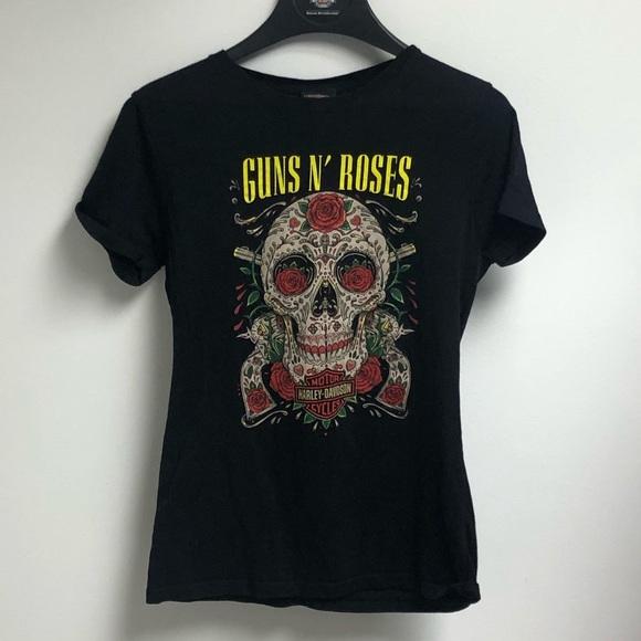 Black Harley-Davidson Men/'s Guns N/' Roses Cover Motorcycle Short Sleeve T-Shirt